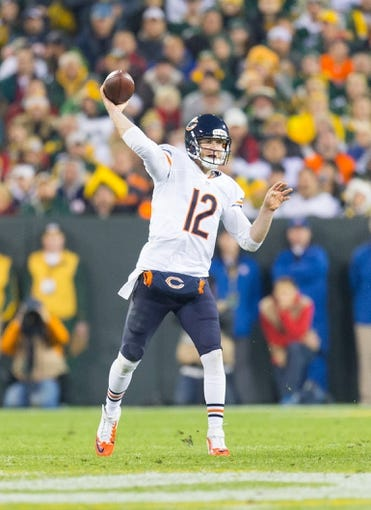 Nov 4, 2013; Green Bay, WI, USA; Chicago Bears quarterback Josh McCown (12) during the game against the Green Bay Packers at Lambeau Field. Chicago won 27-20.  Mandatory Credit: Jeff Hanisch-USA TODAY Sports