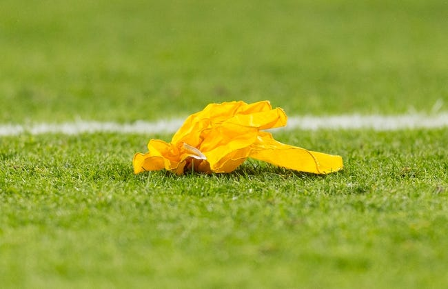 Nov 4, 2013; Green Bay, WI, USA; A penalty flag rests on the field during the game between the Chicago Bears and Green Bay Packers at Lambeau Field. Chicago won 27-20.  Mandatory Credit: Jeff Hanisch-USA TODAY Sports