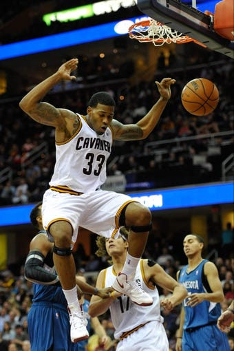 Nov 4, 2013; Cleveland, OH, USA; Cleveland Cavaliers small forward Alonzo Gee (33) during a game against the Minnesota Timberwolves at Quicken Loans Arena. Cleveland won 93-92. Mandatory Credit: David Richard-USA TODAY Sports