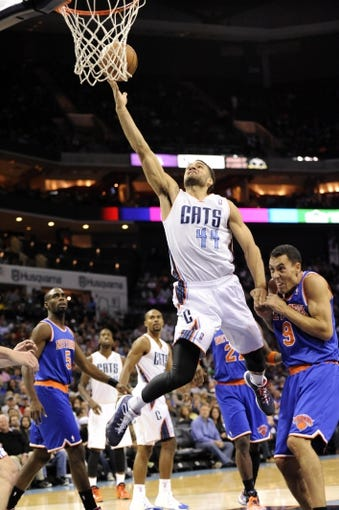 Nov 8, 2013; Charlotte, NC, USA; Charlotte Bobcats forward Jeffery Taylor (44) charges past New York Knicks guard Pablo Prigioni (9) to score a basket during the game at Time Warner Cable Arena. Knicks win 101-91. Mandatory Credit: Sam Sharpe-USA TODAY Sports