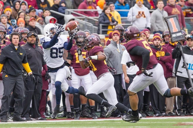 Nov 9, 2013; Minneapolis, MN, USA; Penn State Nittany Lions wide receiver Brandon Felder (85) tries to catch a pass in the third quarter against the Minnesota Gophers at TCF Bank Stadium. Minnesota wins 24-10. Mandatory Credit: Brad Rempel-USA TODAY Sports