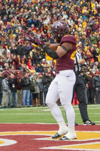 Nov 9, 2013; Minneapolis, MN, USA; Minnesota Gophers running back David Cobb (27) celebrates his touchdown run in the first quarter against the Penn State Nittany Lions at TCF Bank Stadium. Mandatory Credit: Brad Rempel-USA TODAY Sports