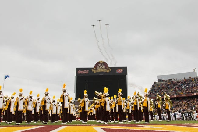 Nov 9, 2013; Minneapolis, MN, USA; United States military do a fly by before the game between the Minnesota Gophers and the Penn State Nittany Lions at TCF Bank Stadium. Minnesota wins 24-10. Mandatory Credit: Brad Rempel-USA TODAY Sports