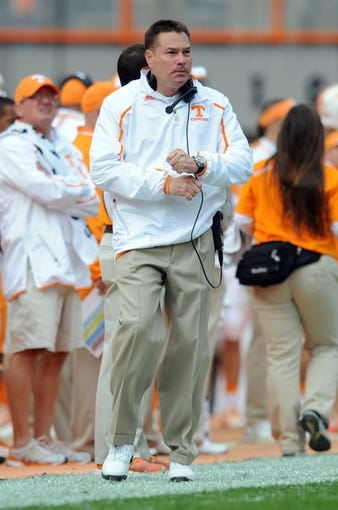 Nov 9, 2013; Knoxville, TN, USA; Tennessee Volunteers head coach Butch Jones during the first half of the game against the Auburn Tigers at Neyland Stadium. Mandatory Credit: Randy Sartin-USA TODAY Sports