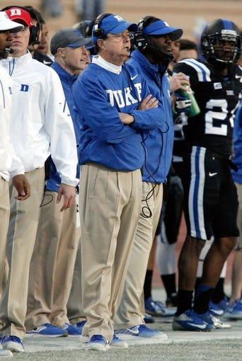 Nov 9, 2013; Durham, NC, USA; Duke Blue Devils head coach David Cutcliffe on the sidelines against the North Carolina State Wolfpack at Wallace Wade Stadium. Mandatory Credit: Mark Dolejs-USA TODAY Sports