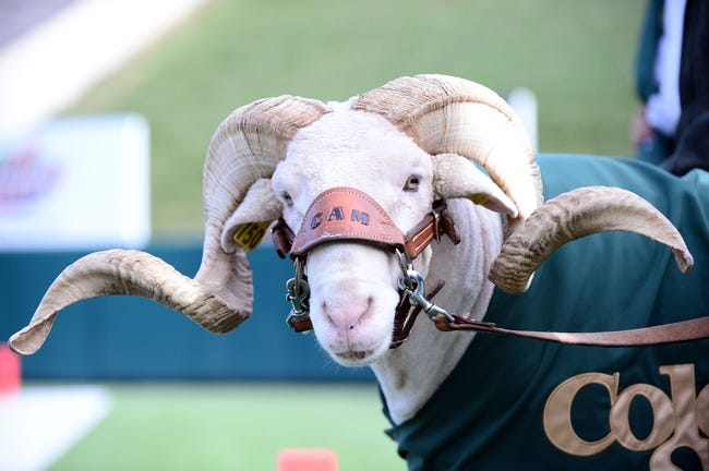Nov 9, 2013; Fort Collins, CO, USA; Colorado State Rams mascot Cam the Ram before the game against the Nevada Wolf Pack at Hughes Stadium. The Rams defeated the Wolf Pack 38-17.Mandatory Credit: Ron Chenoy-USA TODAY Sports