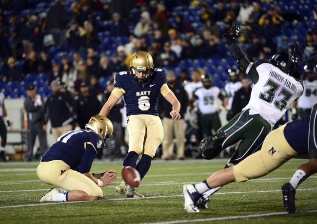 Nov 9, 2013; Annapolis, MD, USA; Navy Midshipmen kicker Nick Sloan (6) kicks a extra point during the fourth  quarter against the the Hawaii Warriors at Navy Marine Corps Memorial Stadium. Navy defeated Hawaii 42-38 Mandatory Credit: Tommy Gilligan-USA TODAY Sports