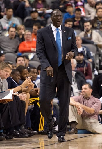 Nov 9, 2013; Toronto, Ontario, CAN; Utah Jazz head coach Tyrone Corbin watches the action during a game against the Toronto Raptors at Air Canada Centre. Mandatory Credit: Nick Turchiaro-USA TODAY Sports