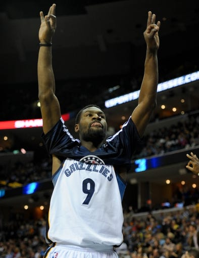 Nov 9, 2013; Memphis, TN, USA; Memphis Grizzlies shooting guard Tony Allen (9) celebrates after a play against Golden State Warriors during the first quarter at FedExForum. Mandatory Credit: Justin Ford-USA TODAY Sports