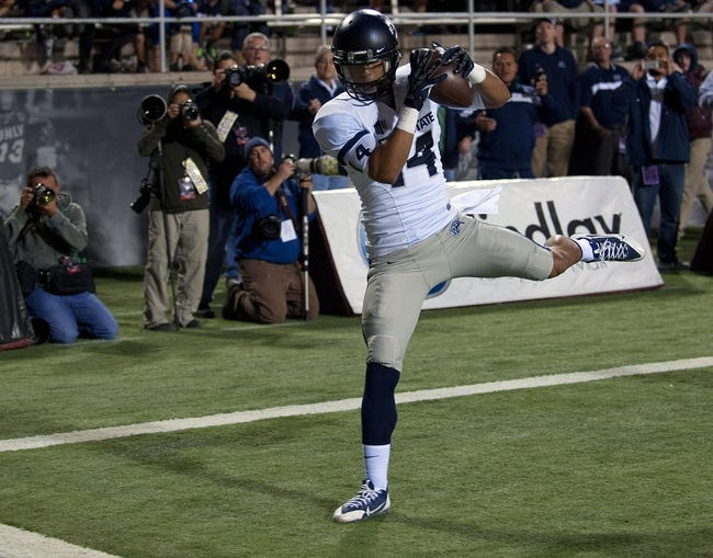 Nov 9, 2013; Las Vegas, NV, USA; Utah State Aggies wide receiver Shaan Johnson (14) makes a catch in the back of the end zone for a touchdown against the UNLV Rebels during an NCAA football game at Sam Boyd Stadium. Mandatory Credit: Stephen R. Sylvanie-USA TODAY Sports