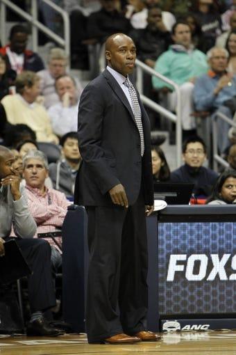 Nov 9, 2013; Atlanta, GA, USA; Orlando Magic head coach Jacque Vaughn coaches against the Atlanta Hawks in the third quarter at Philips Arena. Mandatory Credit: Brett Davis-USA TODAY Sports