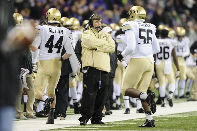 Nov 9, 2013; Seattle, WA, USA; Colorado Buffaloes head coach Mike MacIntyre during the 2nd half against the Washington Huskies at Husky Stadium. Washington defeated Colorado 59-7. Mandatory Credit: Steven Bisig-USA TODAY Sports