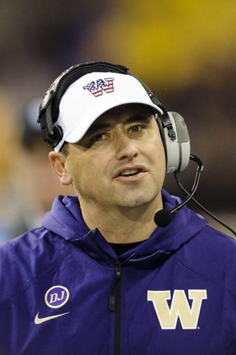 Nov 9, 2013; Seattle, WA, USA; Washington Huskies head coach Steve Sarkisian during the 2nd half against the Colorado Buffaloes at Husky Stadium. Washington defeated Colorado 59-7. Mandatory Credit: Steven Bisig-USA TODAY Sports