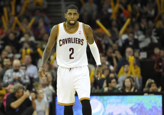 Nov 9, 2013; Cleveland, OH, USA; Cleveland Cavaliers point guard Kyrie Irving (2) reacts in the fourth quarter against the Philadelphia 76ers at Quicken Loans Arena. Mandatory Credit: David Richard-USA TODAY Sports
