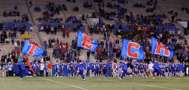 Nov 9, 2013; Ruston, LA, USA; Louisiana Tech Bulldogs cheerleaders run across the field after a score against the Southern Miss Golden Eagles in the second half at Joe Aillet Stadium. La Tech won, 36-13. Mandatory Credit: Chuck Cook-USA TODAY Sports