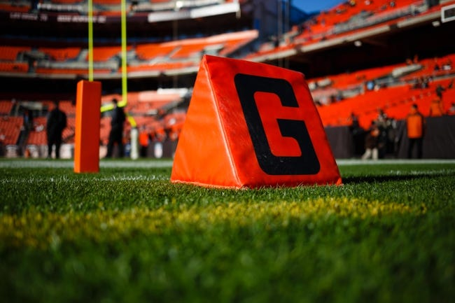 Nov 3, 2013; Cleveland, OH, USA; Goal line mark before the game between the Cleveland Browns and the Baltimore Ravens at FirstEnergy Stadium. Mandatory Credit: Rick Osentoski-USA TODAY Sports