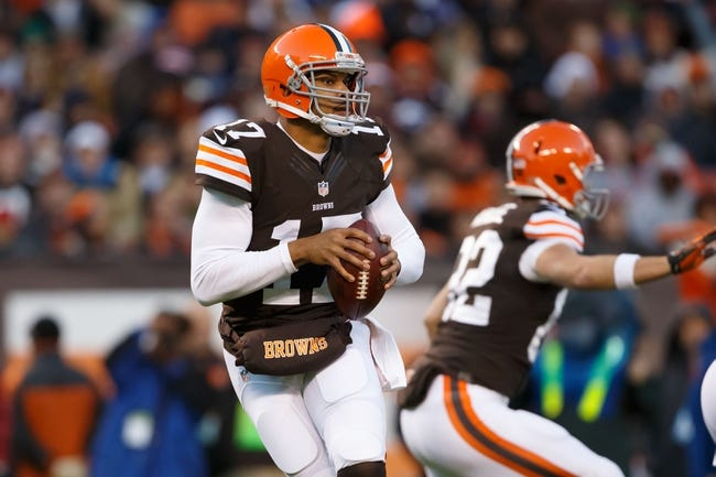 Nov 3, 2013; Cleveland, OH, USA; Cleveland Browns quarterback Jason Campbell (17) drops back to pass against the Baltimore Ravens at FirstEnergy Stadium. Mandatory Credit: Rick Osentoski-USA TODAY Sports
