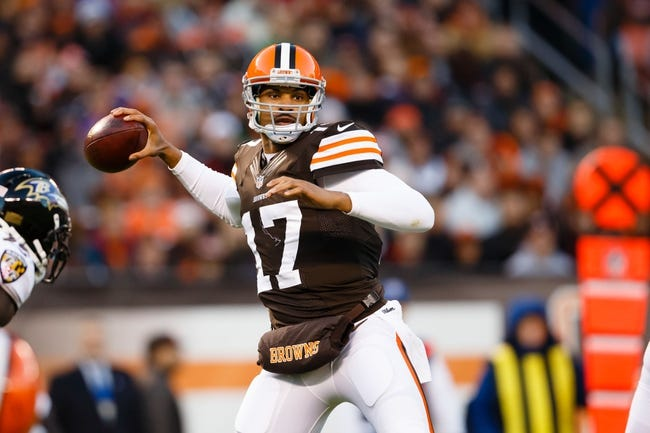 Nov 3, 2013; Cleveland, OH, USA; Cleveland Browns quarterback Jason Campbell (17) passes the ball against the Baltimore Ravens at FirstEnergy Stadium. Mandatory Credit: Rick Osentoski-USA TODAY Sports