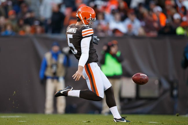 Nov 3, 2013; Cleveland, OH, USA; Cleveland Browns punter Spencer Lanning (5) punts the ball against the Baltimore Ravens at FirstEnergy Stadium. Mandatory Credit: Rick Osentoski-USA TODAY Sports