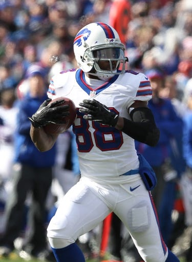 Nov 3, 2013; Orchard Park, NY, USA; Buffalo Bills wide receiver Marquise Goodwin (88) runs the ball against the Kansas City Chiefs at Ralph Wilson Stadium. Mandatory Credit: Timothy T. Ludwig-USA TODAY Sports