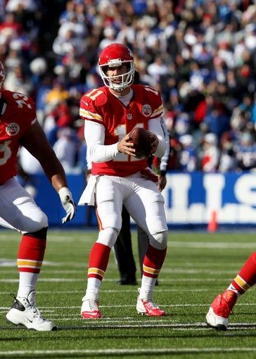 Nov 3, 2013; Orchard Park, NY, USA; Kansas City Chiefs quarterback Alex Smith (11) against the Buffalo Bills at Ralph Wilson Stadium. Mandatory Credit: Timothy T. Ludwig-USA TODAY Sports