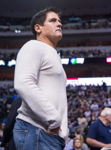 Nov 2, 2013; Dallas, TX, USA; Dallas Mavericks owner Mark Cuban watches his team take on the Memphis Grizzlies during the game at the American Airlines Center. The Mavericks defeated the Grizzlies 111-99. Mandatory Credit: Jerome Miron-USA TODAY Sports