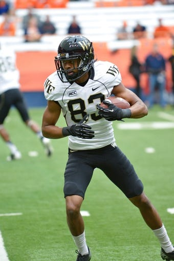 Nov 2, 2013; Syracuse, NY, USA; Wake Forest Demon Deacons wide receiver Jonathan Williams (83) prior to a game against the Syracuse Orange at the Carrier Dome. Mandatory Credit: Mark Konezny-USA TODAY Sports