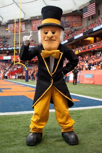 Nov 2, 2013; Syracuse, NY, USA; The Wake Forest Demon Deacons mascot on the sidelines  during a game against the Syracuse Orange at the Carrier Dome. Mandatory Credit: Mark Konezny-USA TODAY Sports