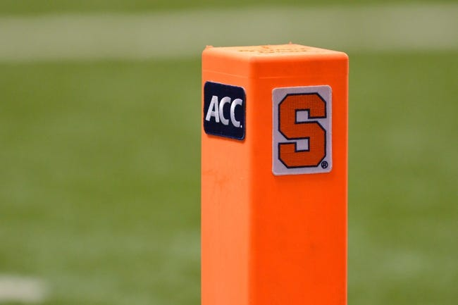 Nov 2, 2013; Syracuse, NY, USA; A pylon on the goal line during a game between the Wake Forest Demon Deacons and the Syracuse Orange at the Carrier Dome. Syracuse won the game 13-0. Mandatory Credit: Mark Konezny-USA TODAY Sports