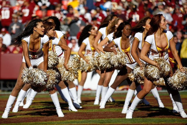 Nov 3, 2013; Landover, MD, USA; Washington Redskins cheerleaders dance on the field against the San Diego Chargers at FedEx Field. Mandatory Credit: Geoff Burke-USA TODAY Sports
