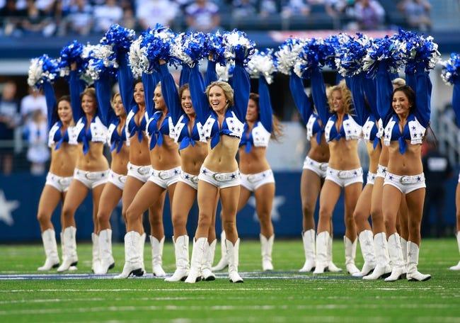 Nov 3, 2013; Arlington, TX, USA;  Dallas Cowboys cheerleaders perform before the game against the Minnesota Vikings at AT&T Stadium. Dallas beat Minnesota 27-23. Mandatory Credit: Tim Heitman-USA TODAY Sports