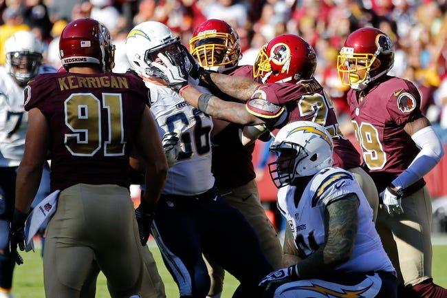 Nov 3, 2013; Landover, MD, USA; Washington Redskins cornerback DeAngelo Hall (23) shoves San Diego Chargers guard Jeromey Clary (66) at FedEx Field. Mandatory Credit: Geoff Burke-USA TODAY Sports