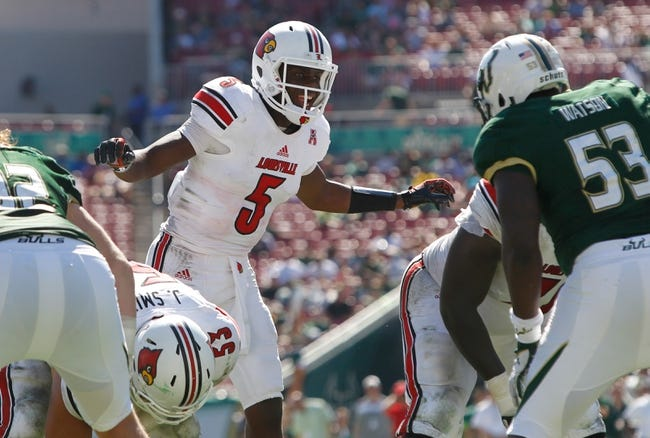 Oct 26, 2013; Tampa, FL, USA; Louisville Cardinals quarterback Teddy Bridgewater (5) calls a play against the South Florida Bulls during the second half at Raymond James Stadium. Mandatory Credit: Kim Klement-USA TODAY Sports