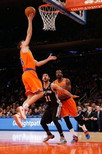 Nov 10, 2013; New York, NY, USA;  New York Knicks point guard Beno Udrih (18) drives up to the net during the second quarter against the San Antonio Spurs at Madison Square Garden. Mandatory Credit: Anthony Gruppuso-USA TODAY Sports