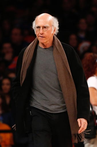 Nov 10, 2013; New York, NY, USA;  American actor and producer Larry David at the game between the New York Knicks and the San Antonio Spurs at Madison Square Garden. Spurs won 120-89.  Mandatory Credit: Anthony Gruppuso-USA TODAY Sports