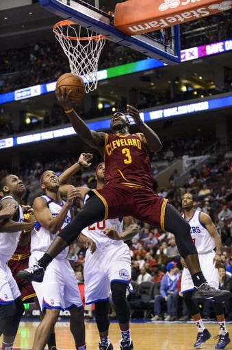 Nov 8, 2013; Philadelphia, PA, USA; Cleveland Cavaliers guard Dion Waiters (3) shoots during the first quarter against the Philadelphia 76ers at Wells Fargo Center. The Sixers defeated the Cavaliers 94-79. Mandatory Credit: Howard Smith-USA TODAY Sports