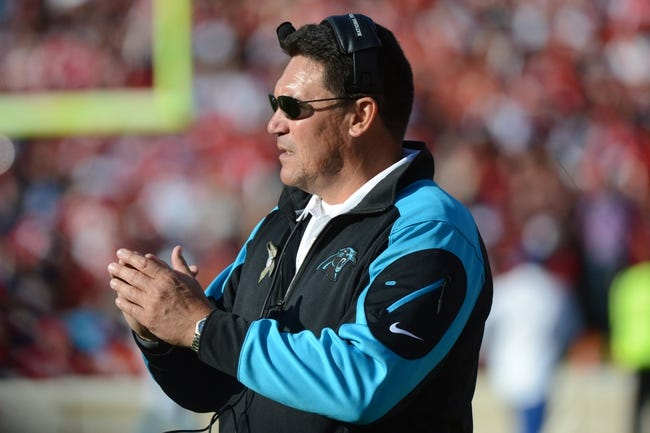 November 10, 2013; San Francisco, CA, USA; Carolina Panthers head coach Ron Rivera instructs from the sideline against the San Francisco 49ers during the third quarter at Candlestick Park. The Panthers defeated the 49ers 10-9. Mandatory Credit: Kyle Terada-USA TODAY Sports