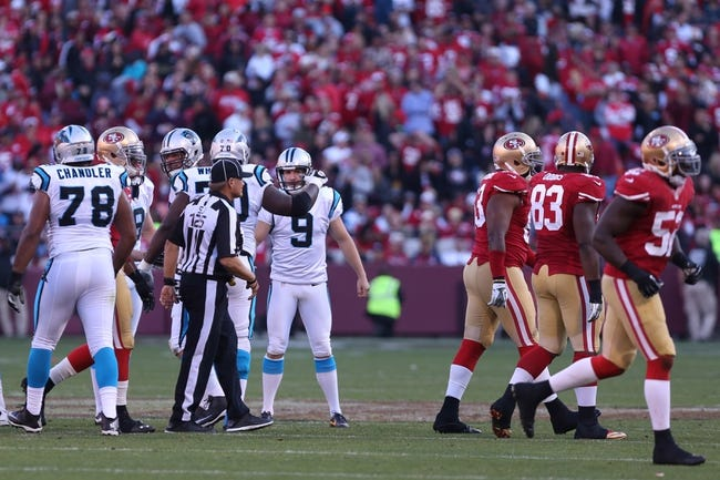 Nov 10, 2013; San Francisco, CA, USA; Carolina Panthers kicker Graham Gano (9) celebrates with teammates after kicking a field goal against the San Francisco 49ers during the fourth quarter at Candlestick Park. The Carolina Panthers defeated the San Francisco 49ers 10-9. Mandatory Credit: Kelley L Cox-USA TODAY Sports