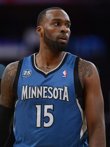 Nov 10, 2013; Los Angeles, CA, USA;  Minnesota Timberwolves small forward Shabazz Muhammad (15) in the second half of the game against the Los Angeles Lakers at Staples Center. Timberwolves won 113-90. Mandatory Credit: Jayne Kamin-Oncea-USA TODAY Sports