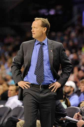 Nov 11, 2013; Charlotte, NC, USA; Atlanta Hawks head coach Mike Budenholzer during the game against the Charlotte Bobcats at Time Warner Cable Arena. Mandatory Credit: Sam Sharpe-USA TODAY Sports