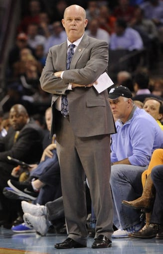 Nov 11, 2013; Charlotte, NC, USA; Charlotte Bobcats head coach Steve Clifford stands on the sidelines during the third quarter against the Atlanta Hawks at Time Warner Cable Arena. The Hawks won 103-94. Mandatory Credit: Sam Sharpe-USA TODAY Sports