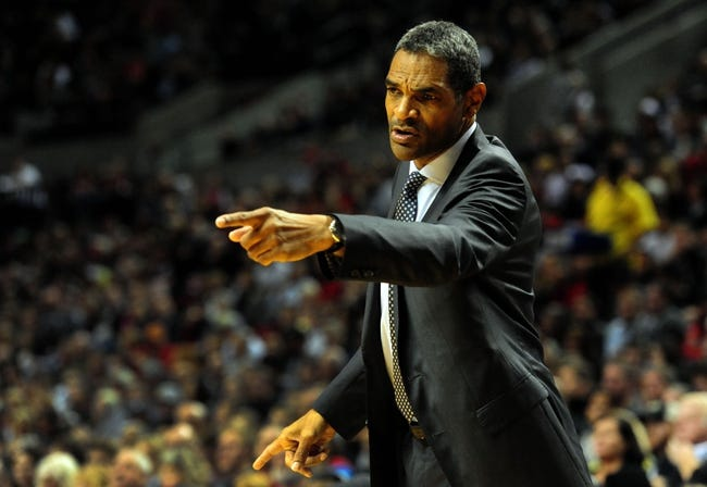 Nov 11, 2013; Portland, OR, USA; Detroit Pistons head coach Maurice Cheeks coaches from the sidelines during the first quarter against the Portland Trail Blazers at Moda Center. Mandatory Credit: Steve Dykes - USA TODAY Sports