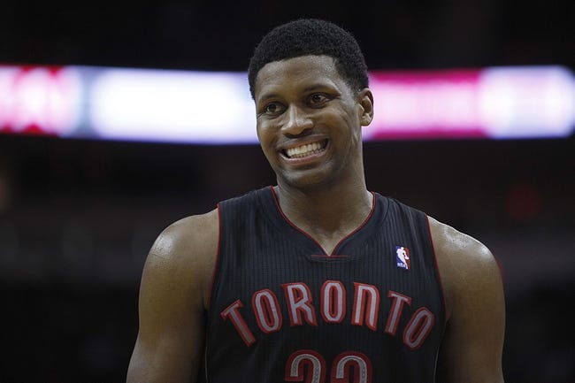 Nov 11, 2013; Houston, TX, USA; Toronto Raptors small forward Rudy Gay (22) smiles on the court during the fourth quarter against the Houston Rockets at Toyota Center. The Rockets won 110-104. Mandatory Credit: Andrew Richardson-USA TODAY Sports