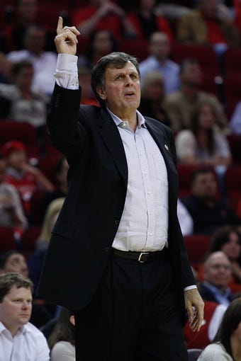 Nov 11, 2013; Houston, TX, USA; Houston Rockets head coach Kevin McHale during the second overtime period at Toyota Center. Mandatory Credit: Andrew Richardson-USA TODAY Sports