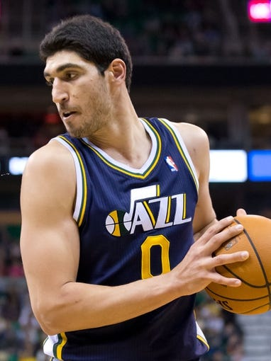 Nov 11, 2013; Salt Lake City, UT, USA; Utah Jazz center Enes Kanter (0) controls the ball during the second half against the Denver Nuggets at EnergySolutions Arena. Denver won 100-81. Mandatory Credit: Russ Isabella-USA TODAY Sports