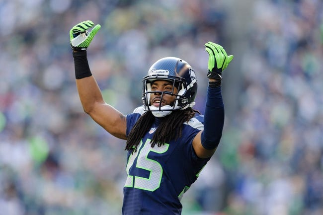 Nov 3, 2013; Seattle, WA, USA; Seattle Seahawks cornerback Richard Sherman (25) during the game between the Seattle Seahawks and the Tampa Bay Buccaneers at CenturyLink Field. Seattle defeated Tampa Bay 27-24. Mandatory Credit: Steven Bisig-USA TODAY Sports