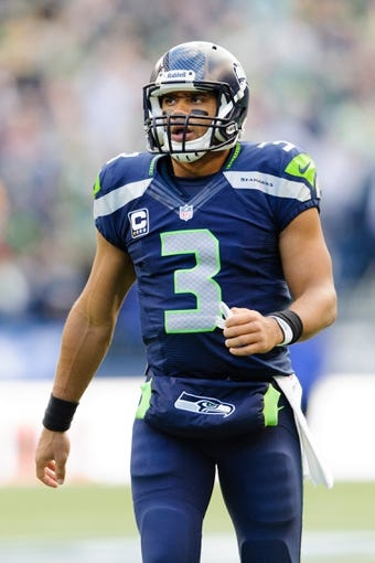 Nov 3, 2013; Seattle, WA, USA; Seattle Seahawks quarterback Russell Wilson (3) during the game against the Tampa Bay Buccaneers at CenturyLink Field. Seattle defeated Tampa Bay 27-24. Mandatory Credit: Steven Bisig-USA TODAY Sports