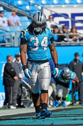 Nov 3, 2013; Charlotte, NC, USA; Carolina Panthers running back DeAngelo Williams (34) before the game against the Atlanta Falcons at Bank of America Stadium. Panther win 34-10.  Mandatory Credit: Sam Sharpe-USA TODAY Sports