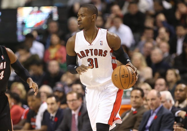 Nov 5, 2013; Toronto, Ontario, CAN; Toronto Raptors guard Terrence Ross (31) dribbles against the Miami Heat at Air Canada Centre. The Heat beat the Raptors 104-95. Mandatory Credit: Tom Szczerbowski-USA TODAY Sports