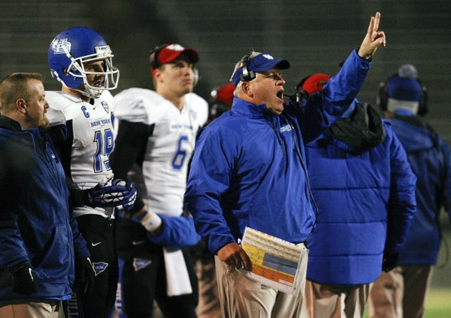 Nov 12, 2013; Toledo, OH, USA; Buffalo Bulls head coach Jeff Quinn goes for the two point conversion during the fourth quarter against the Toledo Rockets at Glass Bowl. The Rockets beat the Bulls 51-41. Mandatory Credit: Raj Mehta-USA TODAY Sports